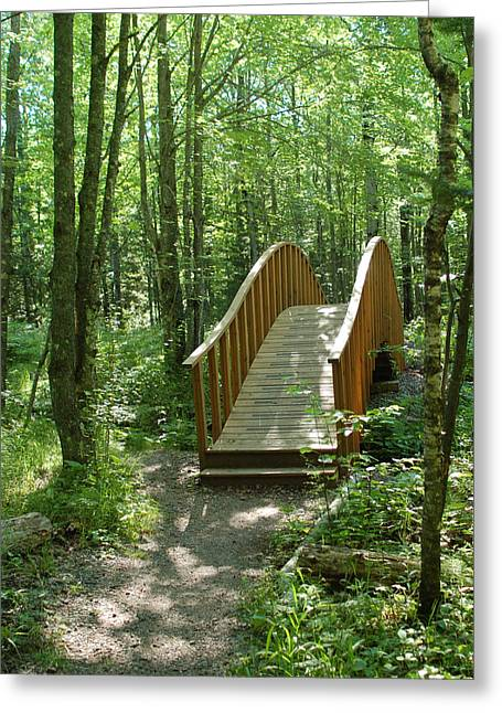 Greeting Card featuring the photograph Woodland Bridge by Peg Toliver