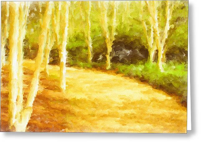 Woodland Painting Greeting Card by Tom Gowanlock