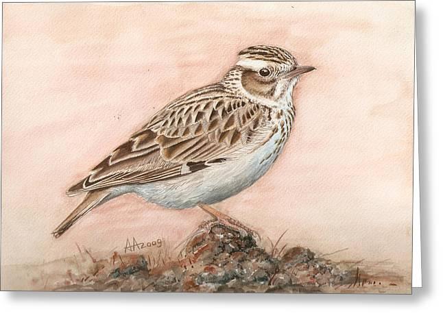Woodlark In The Day-break Greeting Card by Deak Attila