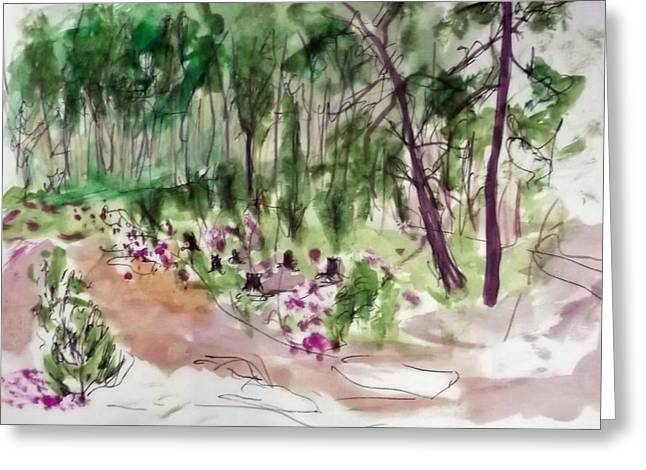 Woods Sketch Greeting Card by Peter Edward Green