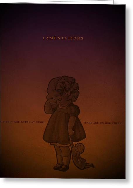 Word Lamentations Greeting Card by Jim LePage