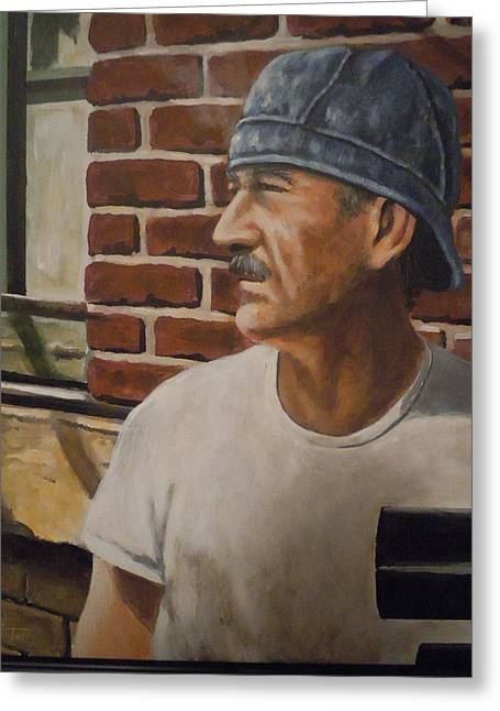 Greeting Card featuring the painting Worker At Union Switch And Signal by James Guentner