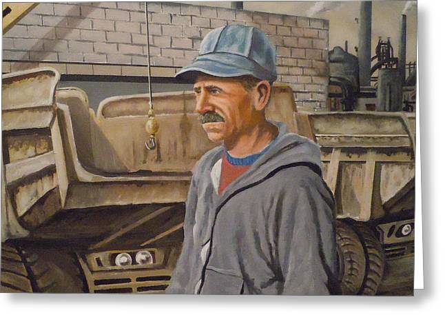 Greeting Card featuring the painting Worker At U.s.s.mill Station 108 by James Guentner