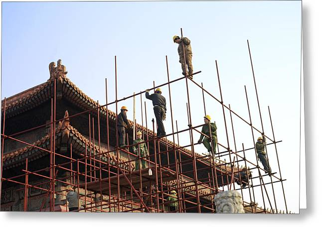 Workers Climb Scaffolding On The Palace Greeting Card by Justin Guariglia