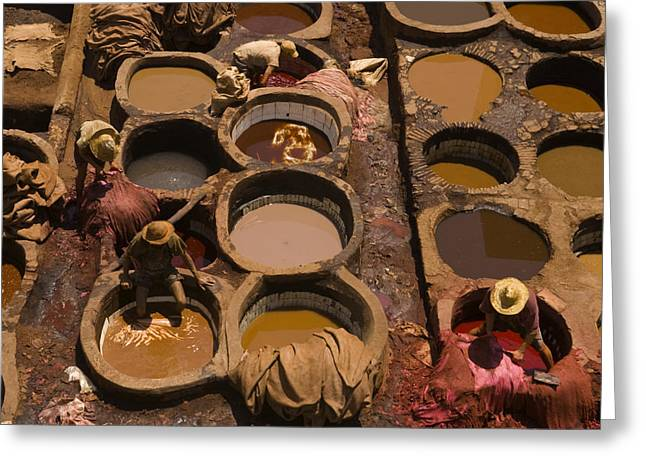Workers In The Tanneries Of Fez Soak Greeting Card by Annie Griffiths
