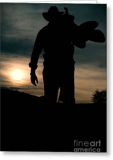 Working Man Silhouette At Sunset - Cowboy Calling It A Day Greeting Card