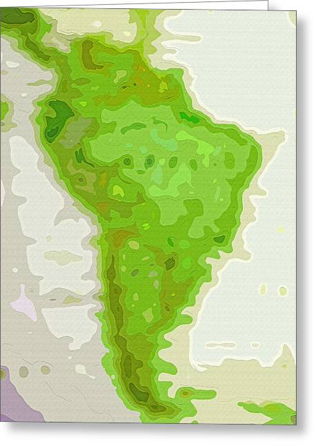 World Map - South America - Abstract Greeting Card by Steve Ohlsen