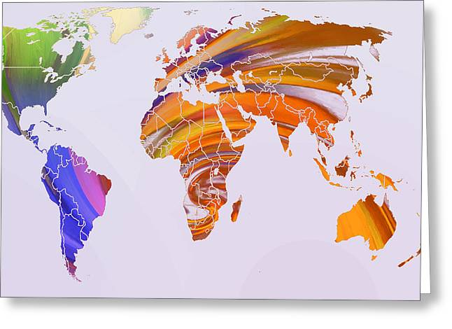 World Map Abstract Painted Greeting Card by Steve K