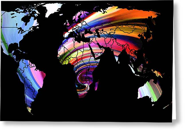 World Map Abstract Painting 2 Greeting Card by Steve K