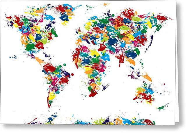 World Map Glossy Paint 16 X 20 Greeting Card by Michael Tompsett
