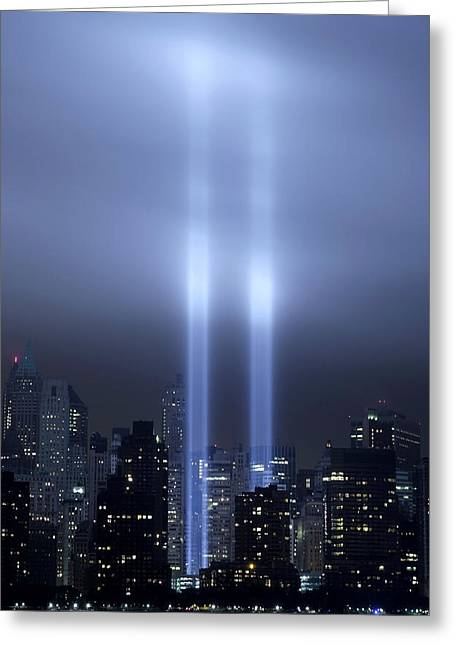 Greeting Card featuring the photograph World Trade Center Memorial Lights by Michael Dorn