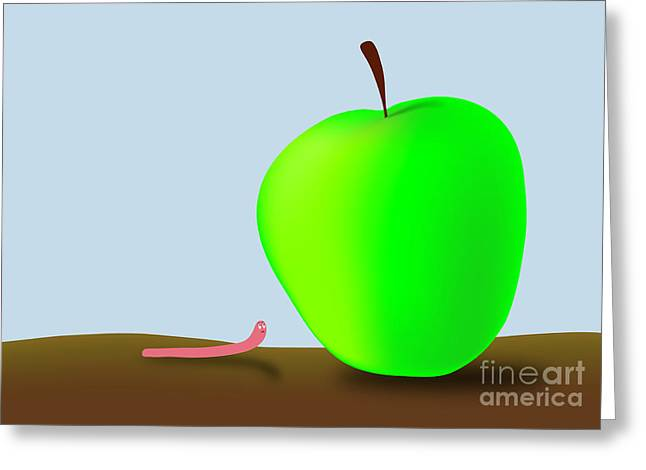 Worm And Big Apple Greeting Card by Michal Boubin