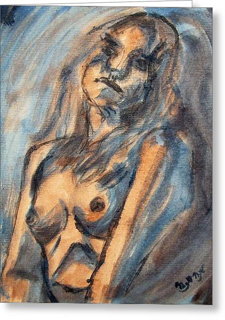 Worried Young Nude Female Teen Leaning And Filled With Angst In Orange And Blue Watercolor Acrylics Greeting Card by M Zimmerman