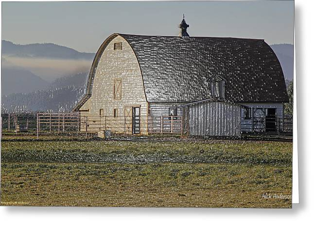 Wrapped Barn Greeting Card by Mick Anderson