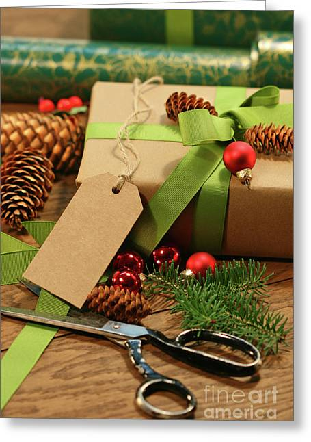 Wrapping Gifts For The Holidays Greeting Card