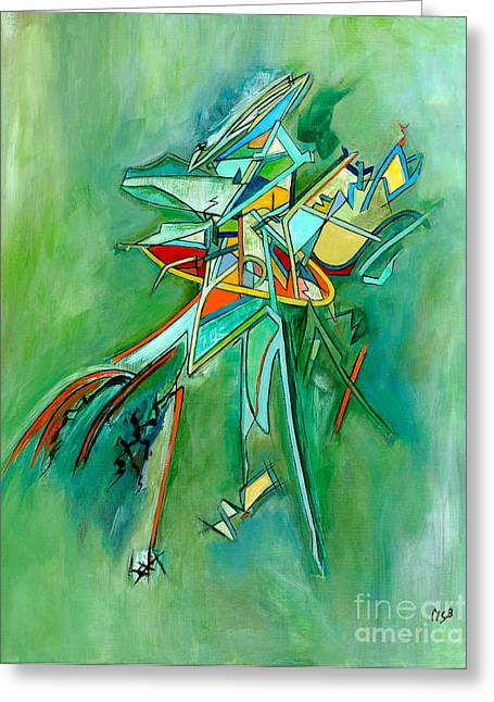 Contemporary Green Colorful Plane Abstract Composition Greeting Card by Marie Christine Belkadi
