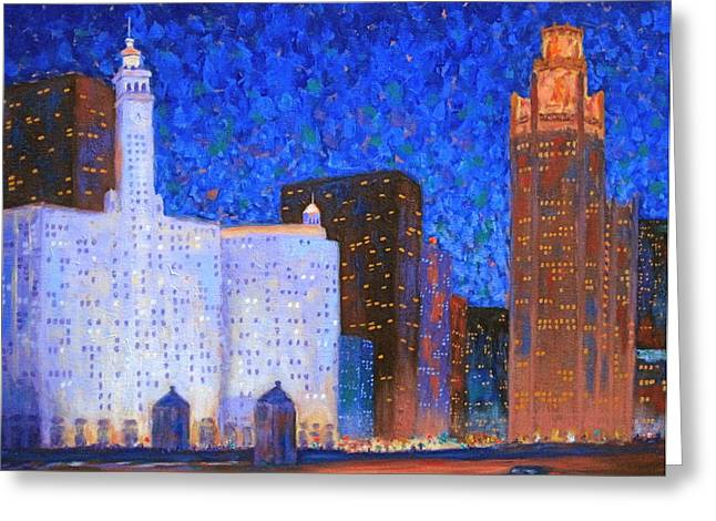 Wrigley Building And Tribune Tower Greeting Card by J Loren Reedy
