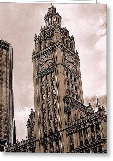 Greeting Card featuring the photograph Wrigley Clock Tower by Linda Edgecomb