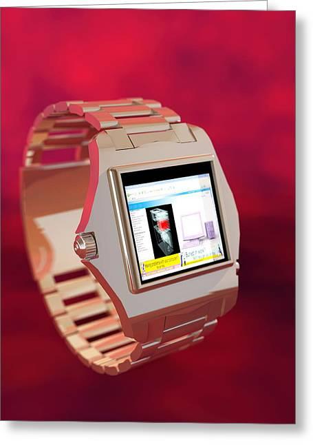 Wrist Watch Computer, Computer Artwork Greeting Card by Christian Darkin