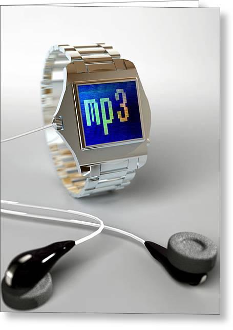 Wrist Watch Mp3 Player Greeting Card by Christian Darkin