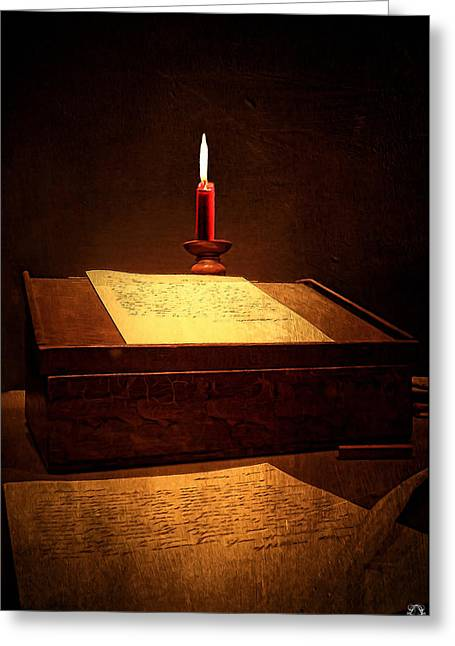 Written Past- Writers Paintings Greeting Card by Lourry Legarde