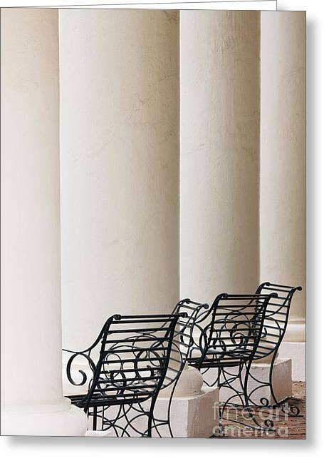 Wrought Iron Chairs And Columns Greeting Card by Jeremy Woodhouse