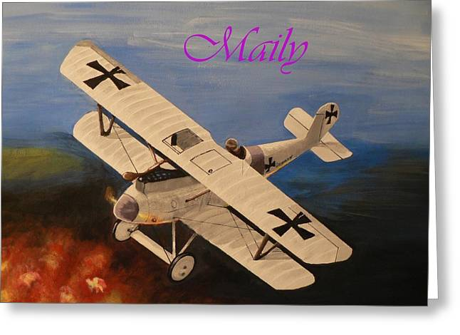 Wwi Aplane Greeting Card by Maily