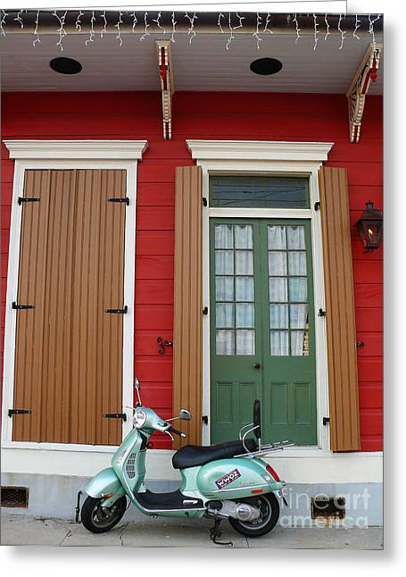 Greeting Card featuring the photograph Wwoz Vespa by Jeanne  Woods