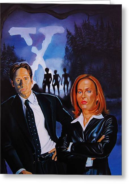 X Files Forest Encounter Greeting Card by Robert Steen