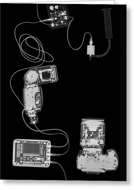 X-ray Of A Digital Camera And Ipod Greeting Card by Photostock-israel