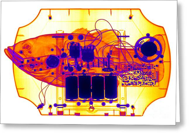 X-ray Of Mechanical Fish Greeting Card by Ted Kinsman