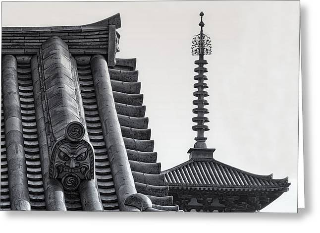 Yakushi-ji Temple Roof Study Greeting Card by Daniel Hagerman