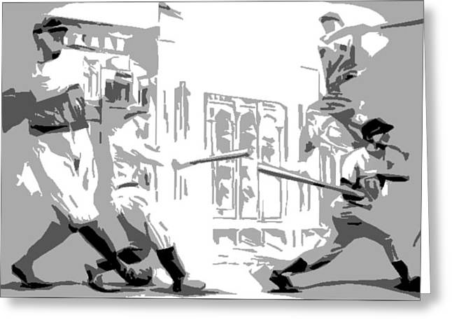 Yankee Greats Poster Greeting Card by Adam Barone