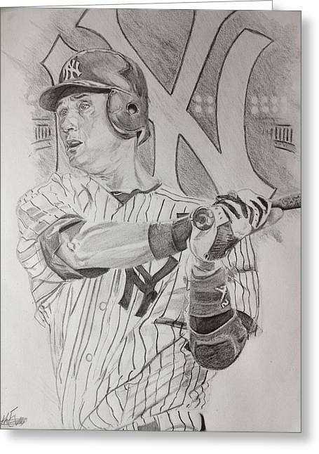 Yankee Pride Derek Jeter  Greeting Card by Keith Evans