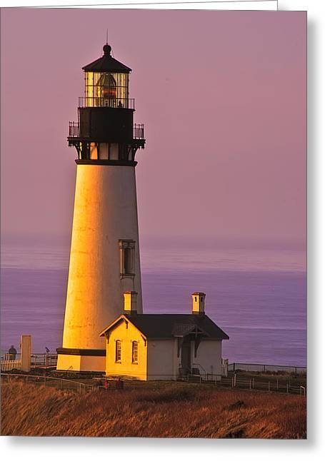 Yaquina Head Lighthouse At Sunset Greeting Card by Alvin Kroon