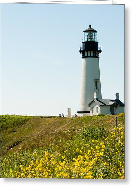 Yaquina Head Lighthouse Greeting Card by Denise Lett