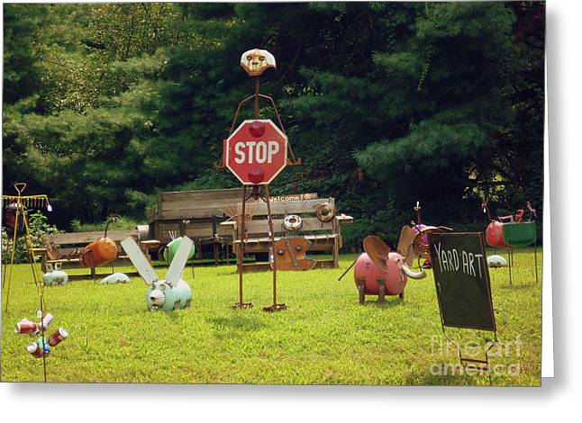 Greeting Card featuring the photograph Yard Art Stop by Renee Trenholm