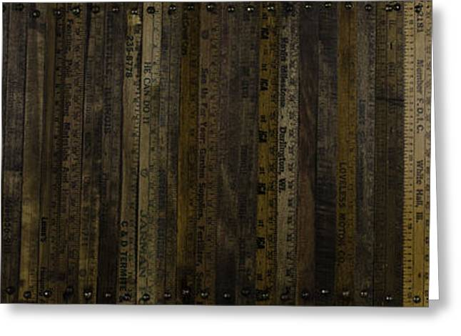 Greeting Card featuring the painting Yardsticks - Aged 18 Inch by Kurt Olson