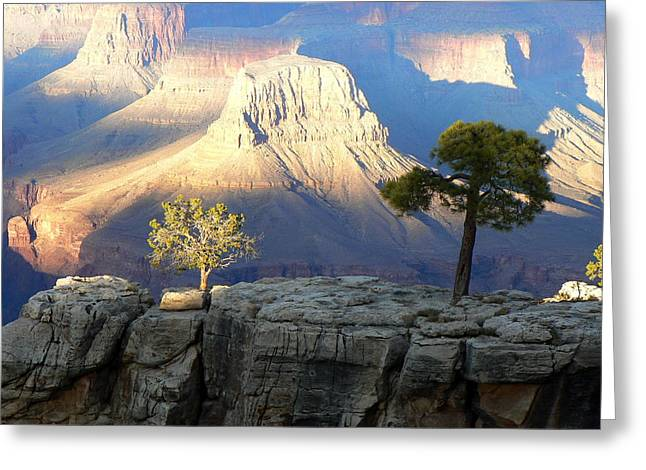 Greeting Card featuring the photograph Yavapai Point Cliff Hangers by Scott Rackers