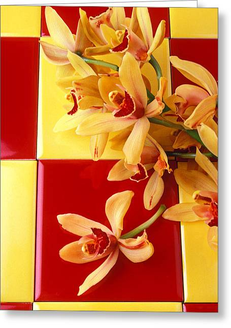 Yellow And Red Orchids  Greeting Card by Garry Gay