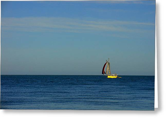 Yellow Boat On The Horizon Greeting Card