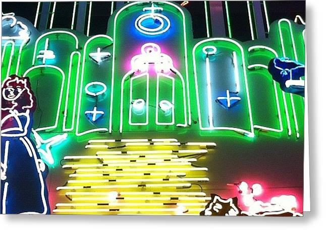 Yellow Brick Road. Neon Movie Art Greeting Card
