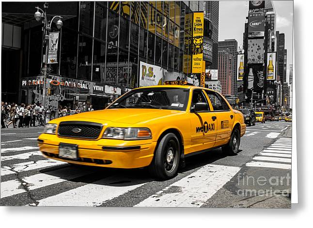 Yellow Cab At The  Times Square Greeting Card by Hannes Cmarits