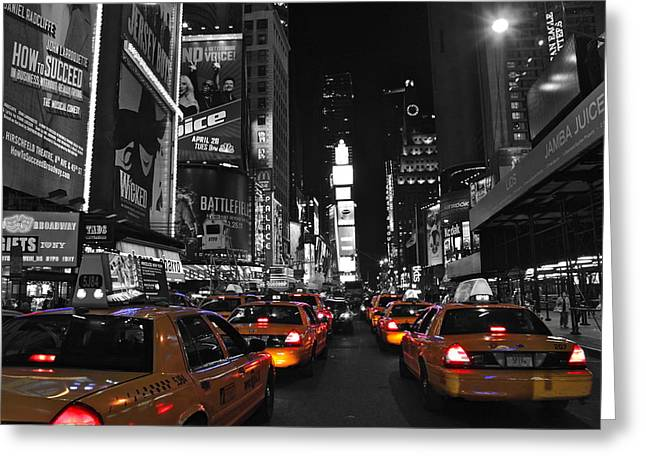 Yellow Cabs In Time Square In New York Greeting Card by Jordan  Drapeau