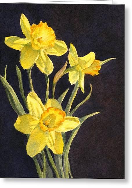 Greeting Card featuring the painting Yellow Daffs by Vikki Bouffard