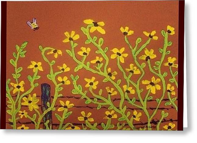 Yellow Daisies And Bee Greeting Card by Peggy Leyva Conley