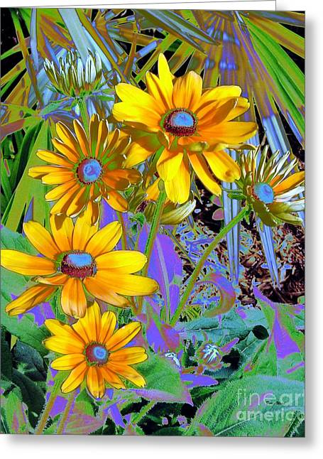 Yellow Daisies Greeting Card by Doris Wood