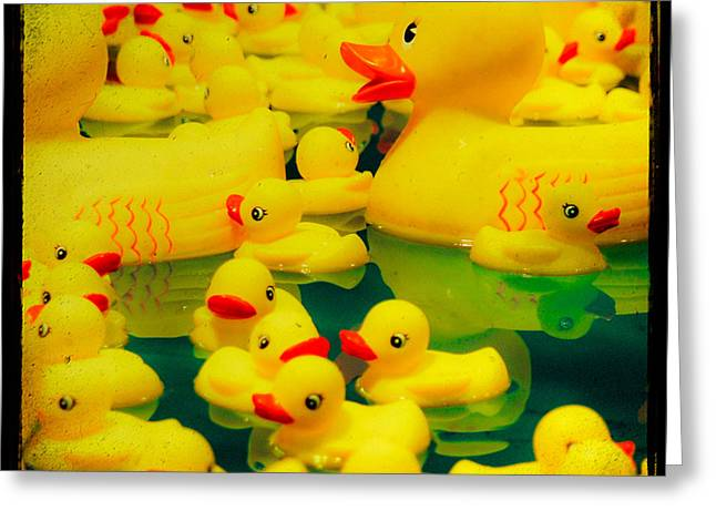 Yellow Ducky Game Greeting Card by Sonja Quintero