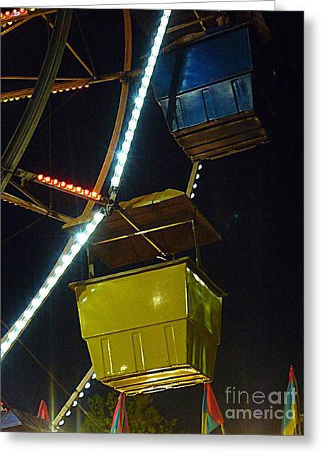 Greeting Card featuring the photograph Yellow Ferris Wheel Bucket by Renee Trenholm