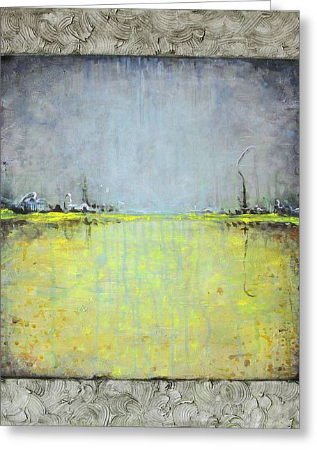 Greeting Card featuring the painting Yellow Field by Lolita Bronzini